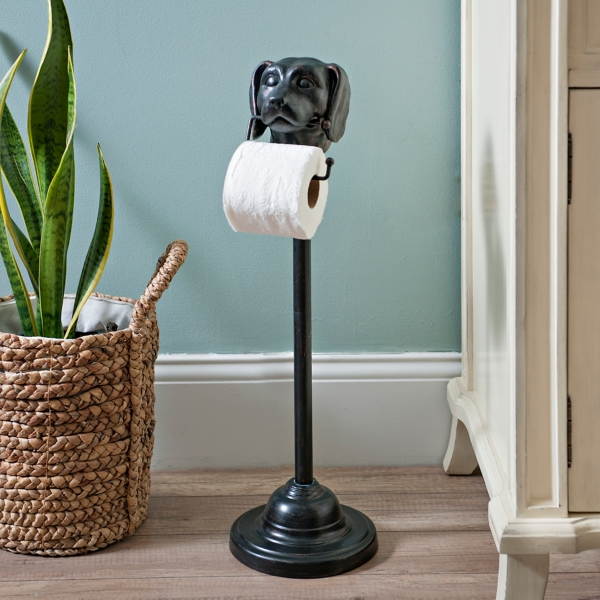 black bronzed dog toilet paper holder