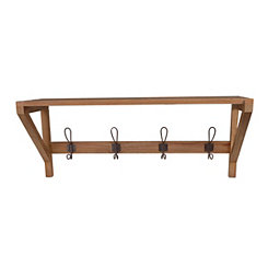 Wood Plank Wall Shelf with Hooks