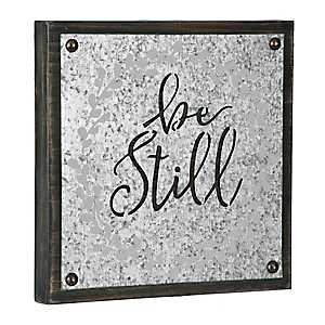 Be Still Galvanized Wood Box Plaque