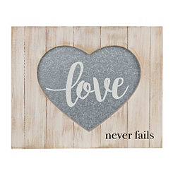 Love Never Fails Wood Box Plaque
