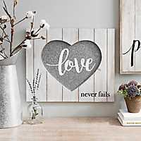 Love Never Fails Wood Box Plaque