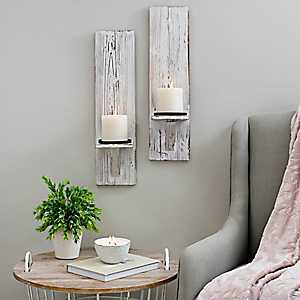 Rustic White Farmhouse Wall Sconces, Set of 2