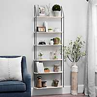 Industrial 6-Shelf Iron and Wood Wall Bookcase