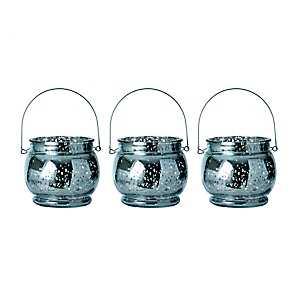 Blue Mercury Glass Hanging Lanterns, Set of 3