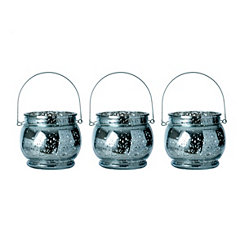 Blue Mercury Glass Hanging Lanterns, Set of 3