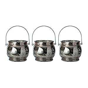Rose Gold Mercury Glass Hanging Lanterns, Set of 3