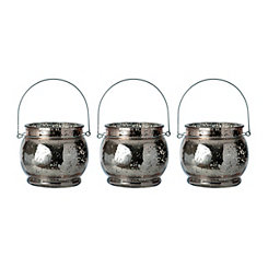 Rose Gold Mercury Glass Hanging Lanterns, Set of 3