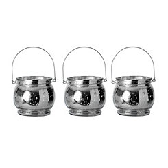 Silver Mercury Glass Hanging Lanterns, Set of 3