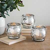 Silver Mercury Glass Hanging Lanterns, Set of 3