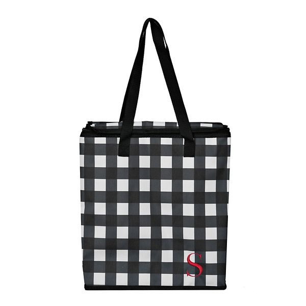 Wonderful Buffalo Check Monogram S Insulated Tote