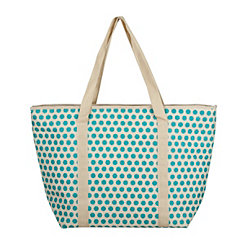 Turquoise Polka Dot Insulated Tote