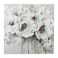 Silvery Flowers Canvas Art
