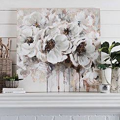 Silvery Flowers Canvas Art