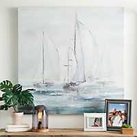 Blue Boats Canvas Art Print