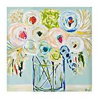 Pastel Bouquet in Vase Canvas Art Print
