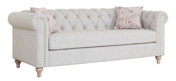 trending tufted linen sofa