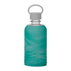 Blue Marbled Silicone Sipper Water Bottle
