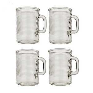 Canned Glass Mugs, Set of 4
