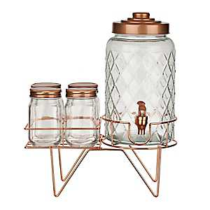 Coppery Beverage Stand 6-pc. Set With Mason Jars