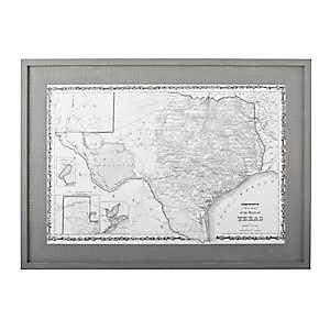 Texas Map Framed Wall Art