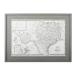 Texas Map Framed Wall Art