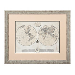 Whitewashed Map Framed Art Print