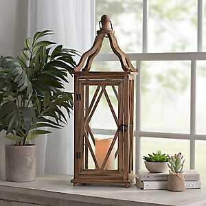 Harper Natural Wooden LED Lantern