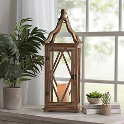 Harper Natural Wooden LED Lantern