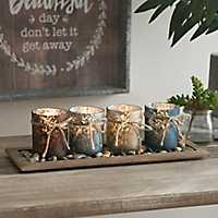 Wood Candle Runner With Mercury Glass Votives