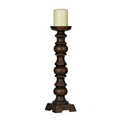 Brown Wooden Finish Resin Candlestick, 16 in.