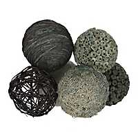 Blue and Natural Woven Orbs, Set of 6