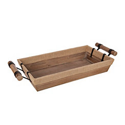 High Sided Wooden Tray With Burlap Trim
