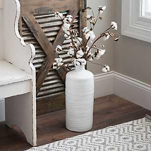 Whitewashed Embossed Terracotta Vase