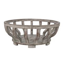 Distressed Gray Ribbed Wooden Bowl