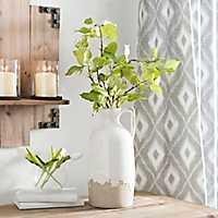 White Crackle Ceramic Vase With Handle