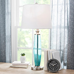Aqua Textured Glass Table Lamp