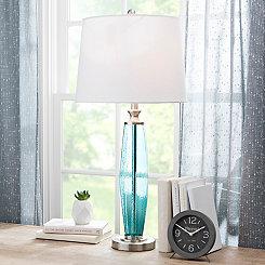 Aqua Textured Glass Table Lamp