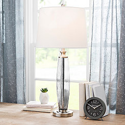 Gray Textured Glass Table Lamp