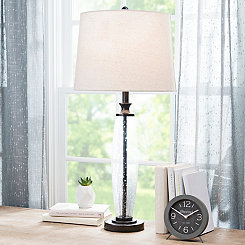 Clear Textured Glass Table Lamp