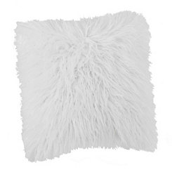 White Shag Mongolian Fur Pillow
