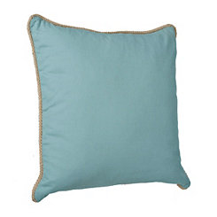 Aqua Cotton Pillow with Jute Trim