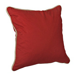 Red Cotton Pillow with Jute Trim