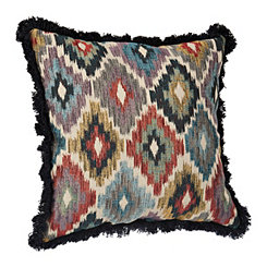 Multicolor Ikat Diamond Pillow with Fringe