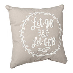 Let Go And Let God Embroidered Pillow