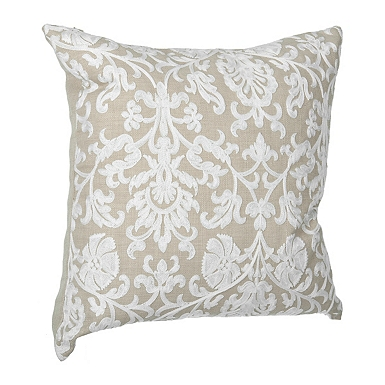 ivory damask linen finish pillow - White Decorative Pillows