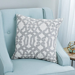 Gray And Ivory Gate Embroidered Pillow