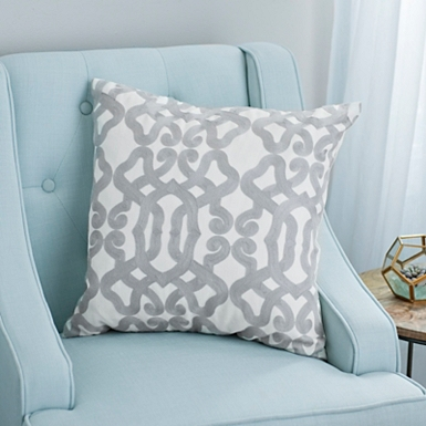 gray and ivory gate embroidered pillow bayberry floral accent pillow - Decorative Throw Pillows
