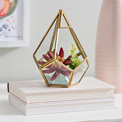 Gold Teardrop Geometric Terrarium, 9 in.