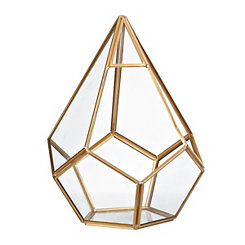 Small Gold Teardrop Geometric Terrarium