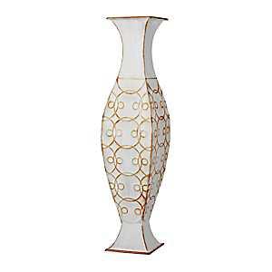 White Penny Metal Vase